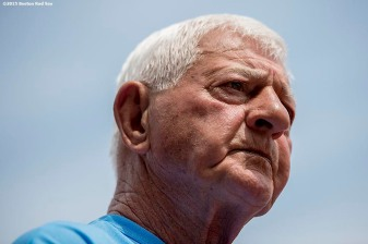 """Former Boston Red Sox left fielder Carl Yastrzemski attends a Genesis Fund event at Fenway Park in Boston, Massachusetts Thursday, June 18, 2015."""