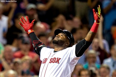 """""""Boston Red Sox designated hitter David Ortiz reacts after hitting a two-run home run during the sixth inning of a game against the Baltimore Orioles at Fenway Park in Boston, Massachusetts Wednesday, June 24, 2015."""""""