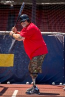 """""""A veteran takes batting practice during a CVS Hitting Clinic at Fenway Park in Boston, Massachusetts Friday, July 3, 2015."""""""