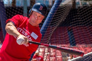 """A veteran takes batting practice during a CVS Hitting Clinic at Fenway Park in Boston, Massachusetts Friday, July 3, 2015."""