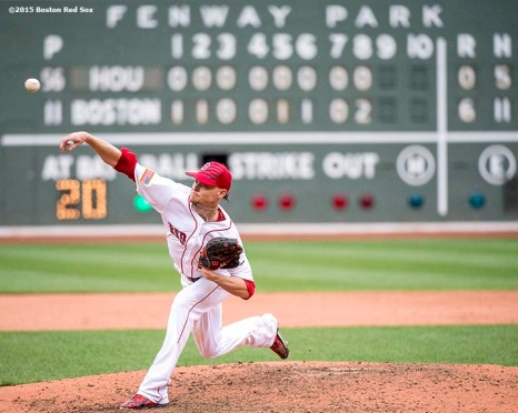 """""""Boston Red Sox pitcher Clay Buchholz delivers during the ninth inning of a game against the Houston Astros at Fenway Park in Boston, Massachusetts Saturday, July 4, 2015. Buchholz pitched a complete game, allowing one run."""""""