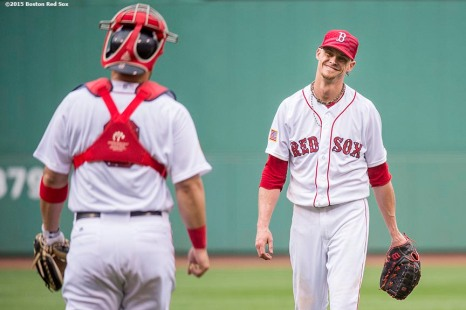 """""""Boston Red Sox pitcher Clay Buchholz reacts after pitching a complete game against the Houston Astros at Fenway Park in Boston, Massachusetts Saturday, July 4, 2015. Buchholz pitched a complete game, allowing one run."""""""