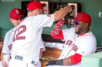 """""""First baseman Mike Napoli and designated hitter David Ortiz laugh before a game between the Boston Red Sox and the Houston Astros at Fenway Park in Boston, Massachusetts Saturday, July 4, 2015."""""""