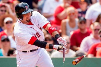"""Boston Red Sox right fielder Shane Victorino breaks his bat during the fourth inning of a game against the Houston Astros at Fenway Park in Boston, Massachusetts Sunday, July 5, 2015."""