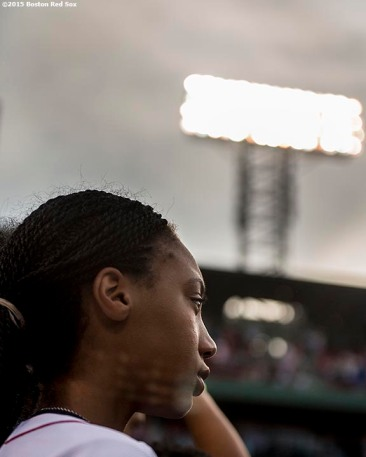 """Pitcher Mo'ne Davis of the Anderson Monarchs Little League World Series team looks on before a game between the Boston Red Sox and the Houston Astros at Fenway Park in Boston, Massachusetts Tuesday July 7, 2015."""
