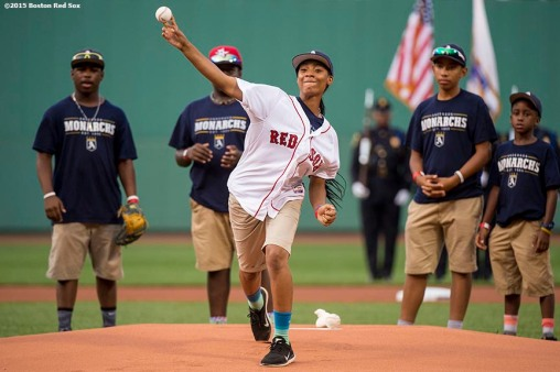 """""""Pitcher Mo'ne Davis of the Anderson Monarchs Little League World Series team throws out the ceremonial first pitch before a game between the Boston Red Sox and the Houston Astros at Fenway Park in Boston, Massachusetts Tuesday July 7, 2015."""""""