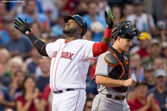 """""""Boston Red Sox first baseman David Ortiz reacts after hitting a two-run home run during the third inning of a game against the Miami Marlins at Fenway Park in Boston, Massachusetts Wednesday, July 8, 2015."""""""