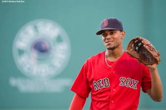 """""""Boston Red Sox shortstop Xander Bogaerts warms up before a game against the New York Yankees at Fenway Park in Boston, Massachusetts Friday, July 10, 2015."""""""