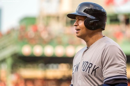 """""""New York Yankees third baseman Alex Rodriguez reacts after hitting a home run during the first inning of a game against the Boston Red Sox at Fenway Park in Boston, Massachusetts Friday, July 10, 2015."""""""