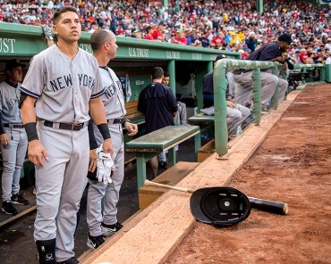 """""""New York Yankees center fielder Jacoby Ellsbury looks on before a game against the Boston Red Sox at Fenway Park in Boston, Massachusetts Friday, July 10, 2015."""""""