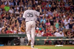 """""""New York Yankees pitcher Michael Pineda reacts during the sixth inning of a game against the Boston Red Sox at Fenway Park in Boston, Massachusetts Friday, July 10, 2015."""""""