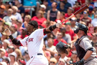 """Boston Red Sox left fielder Hanley Ramirez bats during a game against the New York Yankees at Fenway Park in Boston, Massachusetts Sunday, July 12, 2015. """