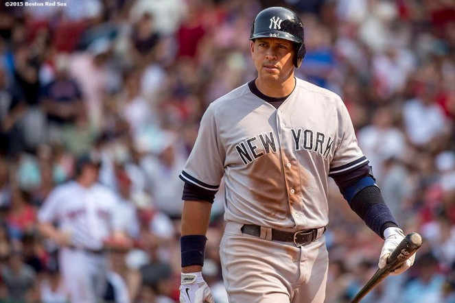 """""""New York Yankees designated hitter Alex Rodriguez looks on during a game against the Boston Red Sox at Fenway Park in Boston, Massachusetts Sunday, July 12, 2015. """""""