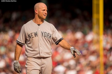 """New York Yankees designated hitter outfielder Brett Gardner looks on during a game against the Boston Red Sox at Fenway Park in Boston, Massachusetts Sunday, July 12, 2015. """