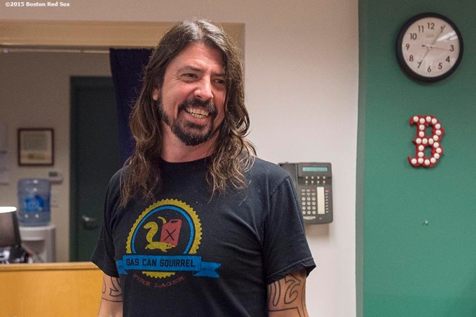 """""""Foo Fighters lead singer Dave Grohl laughs backstage before a concert at Fenway Park in Boston, Massachusetts Saturday, July 18, 2015. """""""