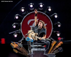 """Lead singer Dave Grohl of the Foo Fighters performs during a concert at Fenway Park in Boston, Massachusetts Saturday, July 18, 2015."""