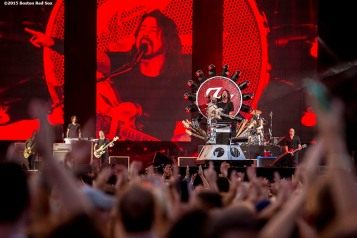 """""""Lead singer Dave Grohl of the Foo Fighters performs during a concert at Fenway Park in Boston, Massachusetts Saturday, July 18, 2015. """""""