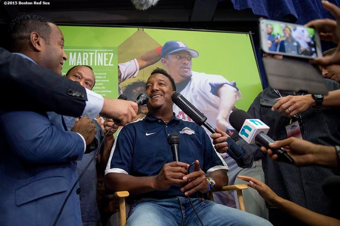 """""""Former Boston Red Sox pitcher Pedro Martinez meets with the media during the 2015 Hall of Fame weekend at the National Baseball Hall of Fame in Cooperstown, New York Saturday, July 25, 2015."""""""
