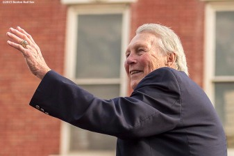 """Hall of Famer Brooks Robinson waves to fans during the Hall of Famers parade during the 2015 Hall of Fame weekend at the National Baseball Hall of Fame in Cooperstown, New York Saturday, July 25, 2015."""