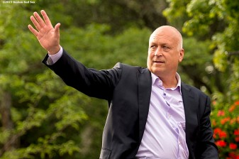 """""""Hall of Famer Cal Ripken Jr. waves to fans during the Hall of Famers parade during the 2015 Hall of Fame weekend at the National Baseball Hall of Fame in Cooperstown, New York Saturday, July 25, 2015."""""""
