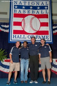 """2015 Hall of Fame inductees Craig Biggio, Pedro Martinez, Randy Johnson, and John Smoltz pose for a group photograph during the 2015 Hall of Fame weekend at the National Baseball Hall of Fame in Cooperstown, New York Saturday, July 25, 2015."""