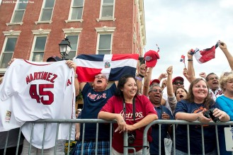 """""""Fans cheer during the Hall of Famers parade during the 2015 Hall of Fame weekend at the National Baseball Hall of Fame in Cooperstown, New York Saturday, July 25, 2015."""""""