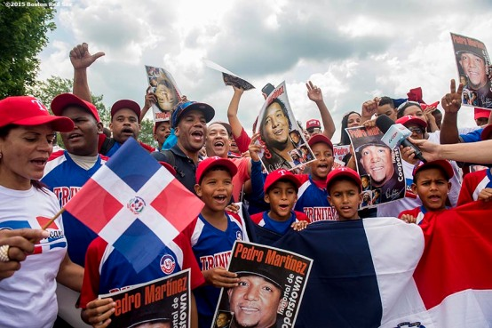 """""""Fans cheer for Pedro Martinez during the 2015 Hall of Fame weekend at the National Baseball Hall of Fame in Cooperstown, New York Sunday, July 26, 2015."""""""