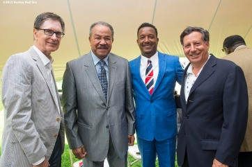 """Boston Red Sox principal owner John Henry, Hall of Famer Juan Marichal, class of 2015 inductee Pedro Martinez, and Boston Red Sox chairman Tom Werner pose for a photograph backstage before the awards ceremony during the 2015 Hall of Fame weekend at the National Baseball Hall of Fame in Cooperstown, New York Sunday, July 26, 2015."""