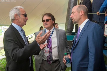 """Hall of Famers Sandy Koufax and Tony La Russa and class of 2015 inductee John Smoltz talk backstage during the 2015 Hall of Fame weekend at the National Baseball Hall of Fame in Cooperstown, New York Sunday, July 26, 2015."""