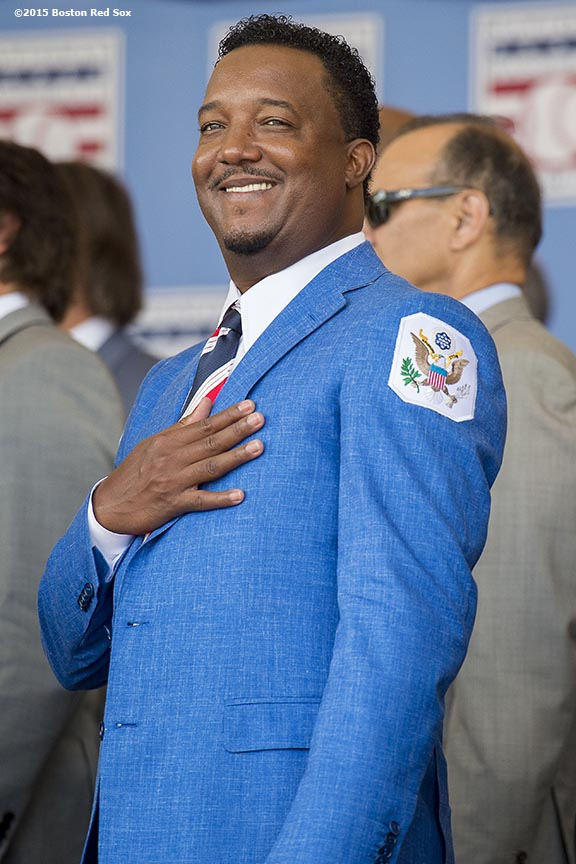 """Hall of Fame class of 2015 inductee Pedro Martinez reacts during the awards presentation during the 2015 Hall of Fame weekend at the National Baseball Hall of Fame in Cooperstown, New York Sunday, July 26, 2015."""