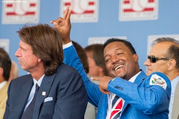 """""""Hall of Fame class of 2015 inductee Pedro Martinez reacts with Randy Johnson during the awards presentation during the 2015 Hall of Fame weekend at the National Baseball Hall of Fame in Cooperstown, New York Sunday, July 26, 2015."""""""