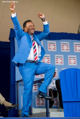 """""""Hall of Fame class of 2015 inductee Pedro Martinez is introduced during the awards presentation during the 2015 Hall of Fame weekend at the National Baseball Hall of Fame in Cooperstown, New York Sunday, July 26, 2015."""""""