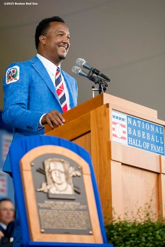 """""""Hall of Fame class of 2015 inductee Pedro Martinez speaks during the awards presentation during the 2015 Hall of Fame weekend at the National Baseball Hall of Fame in Cooperstown, New York Sunday, July 26, 2015."""""""