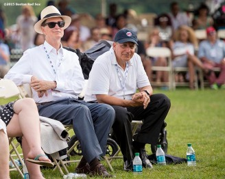 """""""Boston Red Sox Principal Owner John Henry and Chairman Tom Werner attend the plaque ceremony for Pedro Martinez during the 2015 Hall of Fame weekend at the National Baseball Hall of Fame in Cooperstown, New York Sunday, July 26, 2015."""""""
