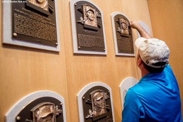 """A plaque for 2015 Hall of Fame inductee Pedro Martinez installed during the 2015 Hall of Fame weekend at the National Baseball Hall of Fame in Cooperstown, New York Sunday, July 26, 2015."""