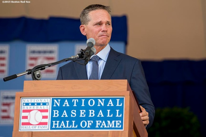 """""""Class of 2015 Hall of Fame inductee Craig Biggio speaks at the plaque ceremony during the 2015 Hall of Fame weekend at the National Baseball Hall of Fame in Cooperstown, New York Sunday, July 26, 2015."""""""