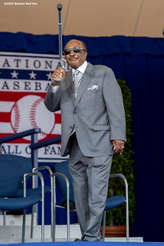 """""""Hall of Famer Joe Morgan is introduced at the plaque ceremony during the 2015 Hall of Fame weekend at the National Baseball Hall of Fame in Cooperstown, New York Sunday, July 26, 2015."""""""