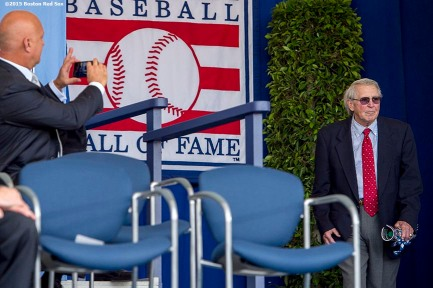 """Hall of Famer Brooks Robinson is introduced as Cal Ripken Jr. takes a photograph at the plaque ceremony during the 2015 Hall of Fame weekend at the National Baseball Hall of Fame in Cooperstown, New York Sunday, July 26, 2015."""