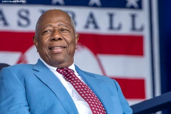 """""""Hall of Famer Hank Aaron is introduced at the plaque ceremony during the 2015 Hall of Fame weekend at the National Baseball Hall of Fame in Cooperstown, New York Sunday, July 26, 2015."""""""