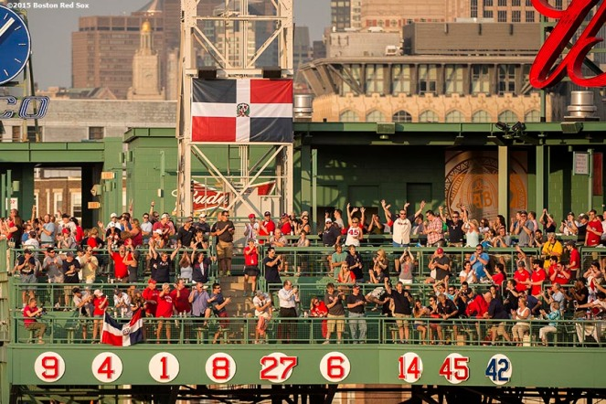 """The retired number of Hall of Fame inductee Pedro Martinez is revealed during a ceremony before a game against the Chicago White Sox at Fenway Park in Boston, Massachusetts Tuesday, July 28, 2015."""