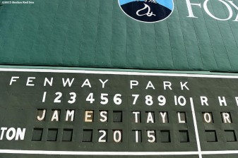 """A message is shown for the James Taylor concert at Fenway Park in Boston, Massachusetts Tuesday, August 4, 2015."""