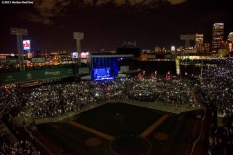 """The stage is shown as singer James Taylor performs during a concert at Fenway Park in Boston, Massachusetts Thursday, August 6, 2015."""