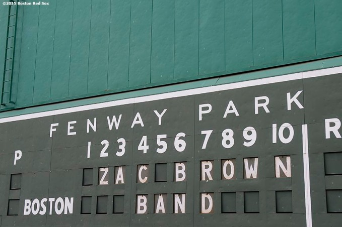 BOSTON, MA - AUGUST 8: The scoreboard on the Green Monster displays a message before The Zac Brown Band performs at Fenway Park on Saturday, August 8, 2015 in Boston, Massachusetts. (Photo by Billie Weiss/MLB Photos via Getty Images) *** Local Caption ***