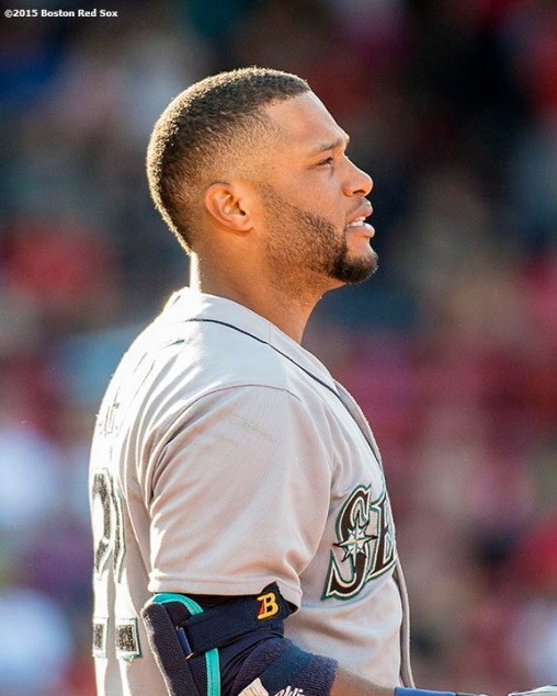 """Seattle Mariners second baseman Robinson Cano reacts during the tenth inning of a game against the Boston Red Sox at Fenway Park in Boston, Massachusetts Sunday, August 16, 2015."""
