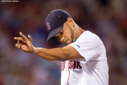 """Boston Red Sox pitcher Eduardo Rodriguez reacts during the sixth inning of a game against the Cleveland Indians at Fenway Park in Boston, Massachusetts Tuesday, August 18, 2015."""