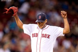 """Boston Red Sox pitcher Eduardo Rodriguez reacts during the eighth inning of a game against the Cleveland Indians at Fenway Park in Boston, Massachusetts Tuesday, August 18, 2015."""