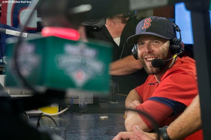 """Boston Red Sox second baseman Dustin Pedroia appears on set during the WEEI NESN Jimmy Fund Radio-Telethon at Fenway Park in Boston, Massachusetts Tuesday, August 18, 2015."""