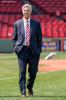 """Newly appointed Boston Red Sox President of Baseball Operations Dave Dombrowski walks on the field at Fenway Park in Boston, Massachusetts Wednesday, August 19, 2015."""