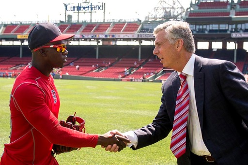 """Newly appointed Boston Red Sox President of Baseball Operations Dave Dombrowski meets right fielder Rusney Castillo during a Sox Talk clinic at Fenway Park in Boston, Massachusetts Wednesday, August 19, 2015."""