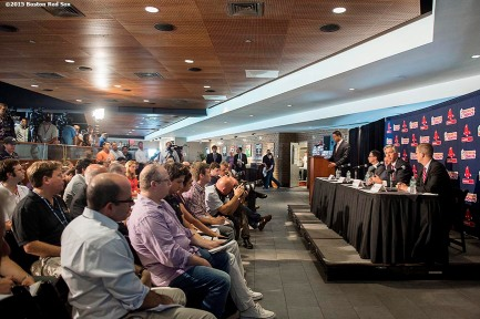 """Newly appointed Boston Red Sox President of Baseball Operations Dave Dombrowski speaks during a press conference alongside Principal Owner John Henry, Chairman Tom Werner, and Chief Operating Officer Sam Kennedy at Fenway Park in Boston, Massachusetts Wednesday, August 19, 2015."""
